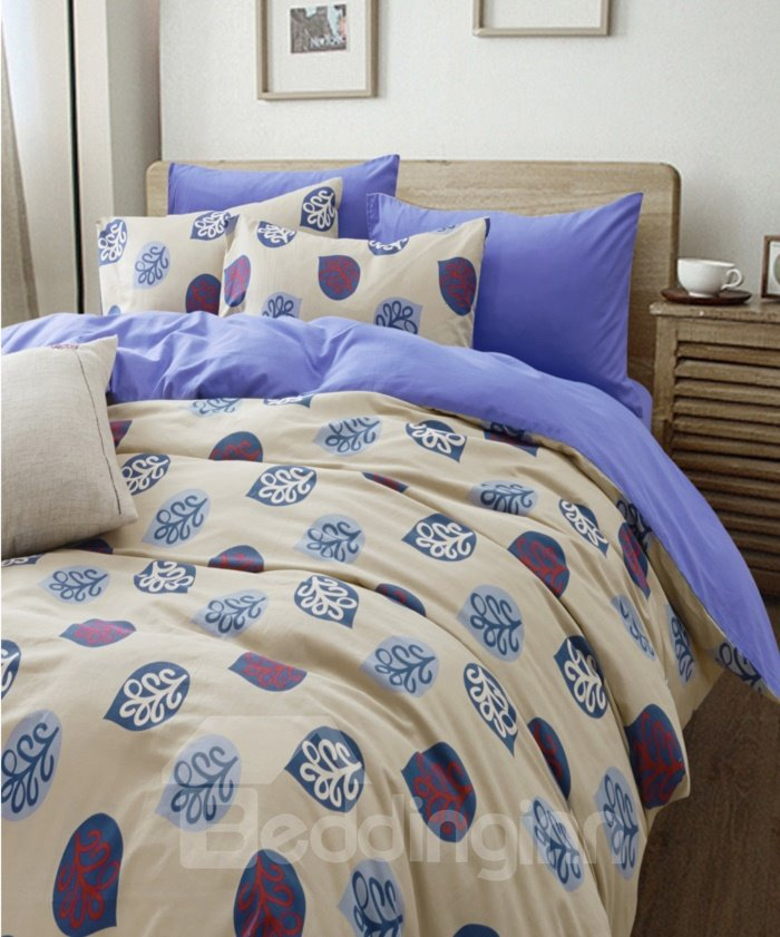 Elegant Blue Leaves Pattern 4-Piece Cotton Duvet Cover Sets