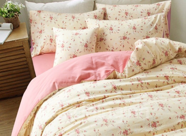 Alluring Little Flower Pattern 4-Piece Cotton Duvet Cover Sets