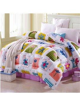 Super Fresh Bright Color Flowers Pattern Thicken Quilt