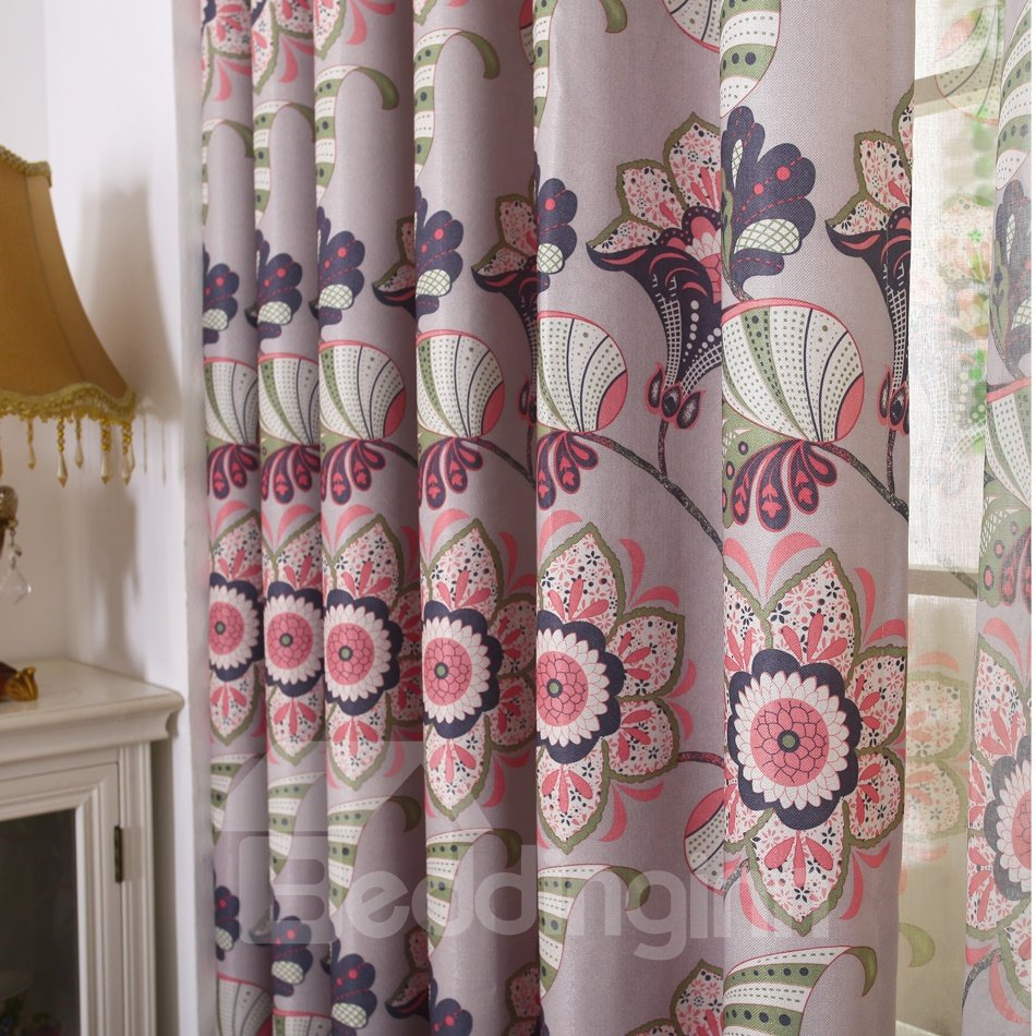 High Quality Gorgeous Sophisticated Floral Pattern Grommet Top Curtain