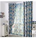 Hot Selling Beautiful Blue Floral Pattern Grommet Top Curtain