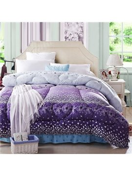 Stylish White Heart Shape Pattern Purple Border Thicken Quilt