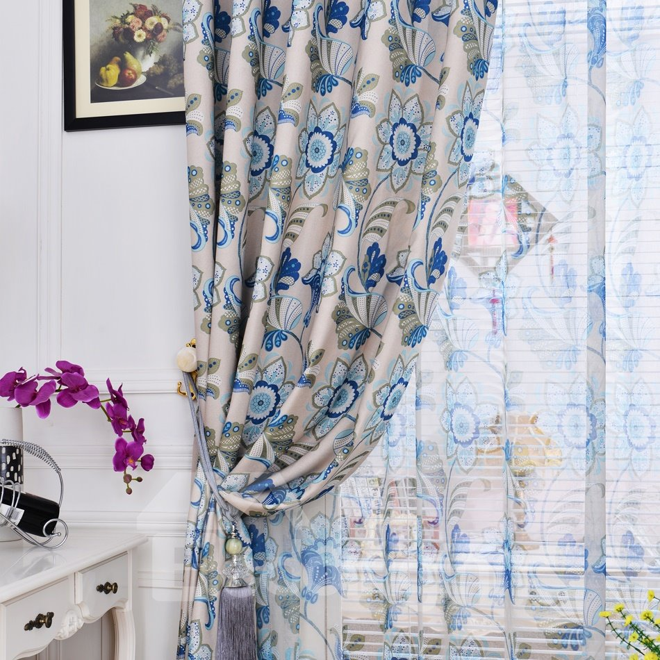 New Home Fashion Floral Design Functional Room Darkening Linen Curtain