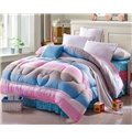Concise Style Rainbow Color Stripes Thicken Quilt