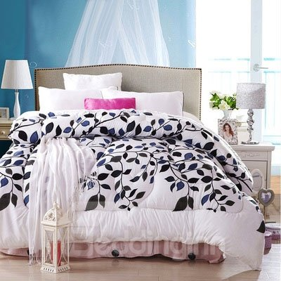 Concise Style Black and Blue Leaves and Branches Thicken Quilt