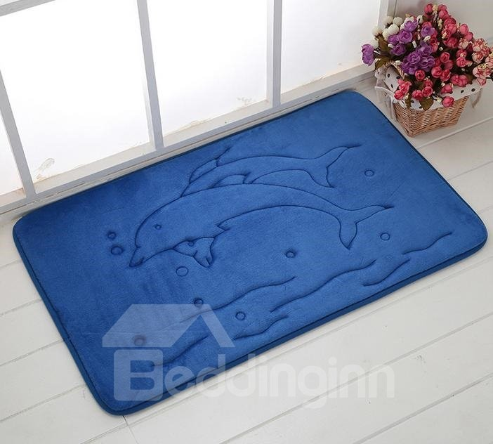 High Quality Coral Fleece 3D Dolphins Doormat
