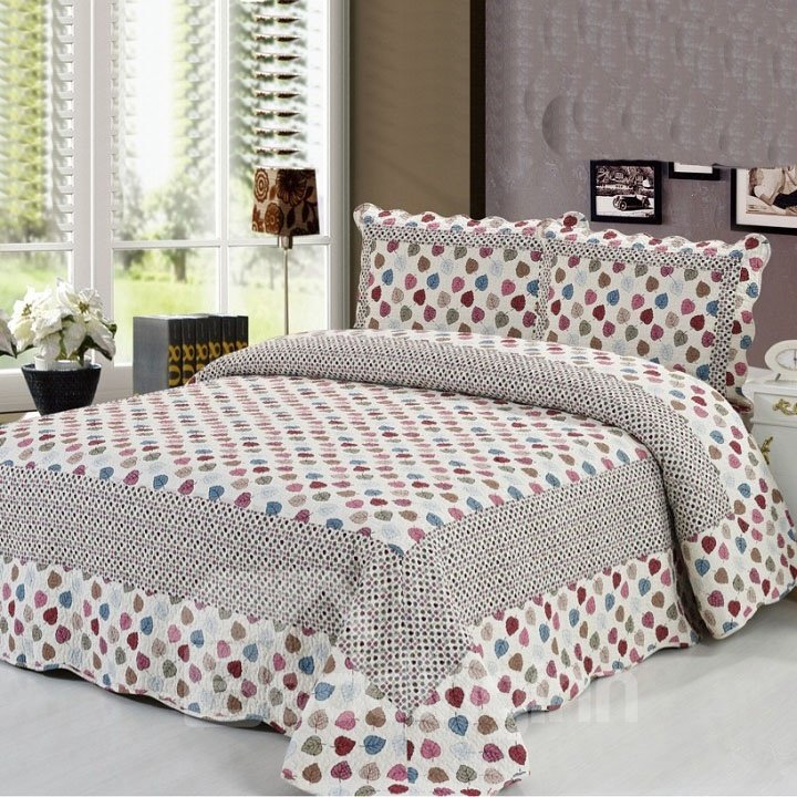 Stylish Kinds of Colorful Leaves Pattern Bed in a Bag Set