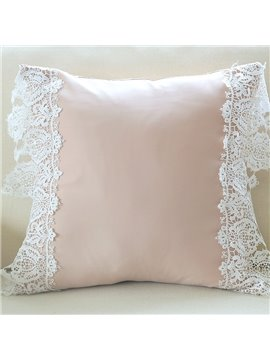 High Quality Luxury White Lace Border Nude Throw Pillow