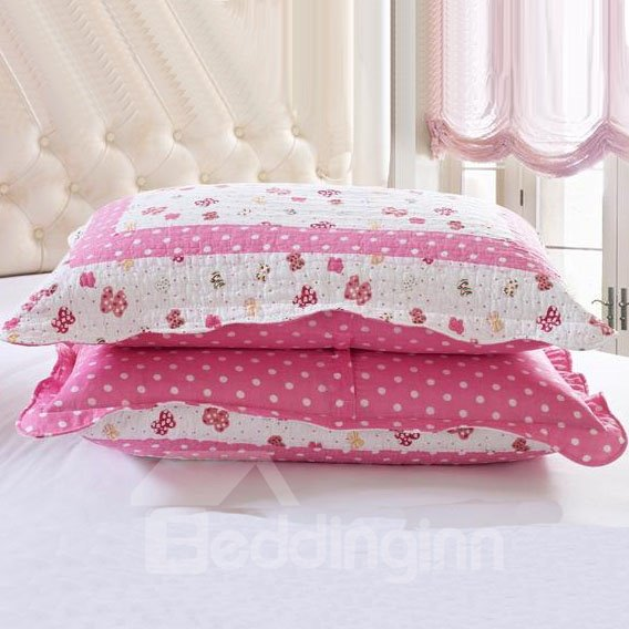 Romantic Fancy Floral Pink Squares Pattern Bed in a Bag Set