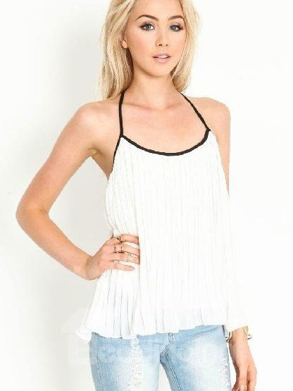 New Arrival Fashion White Backless Plicated Camisole