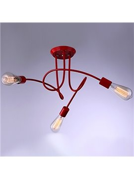 Red Alloy Contemporary Electroplated Finish 3-Heads Flush Mount