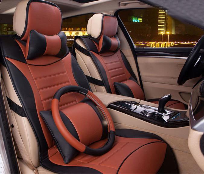 Classic Stylish And Attractive PU Leatherette Material Five Universal Car Seat Covers