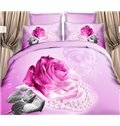Shining Fuchsia Rose and Pearl Print 4-Piece Cotton Duvet Cover Sets