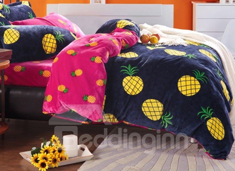 Unique Bright Yellow Pineapple Print 4-Piece Coral Fleece Duvet Cover  TC11