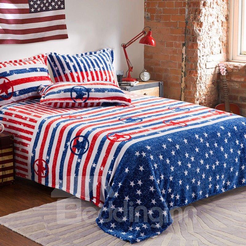 Comfortable American Flag Print 4-Piece Coral Fleece Duvet Cover Sets