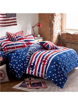 Comfortable American Flag Print 4-Piece Coral Fleece Duvet Cover Sets