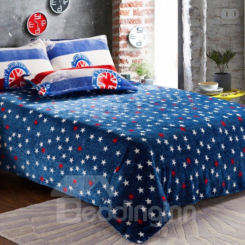 Modern Union Jack Print 4-Piece Coral Fleece Duvet Cover Sets