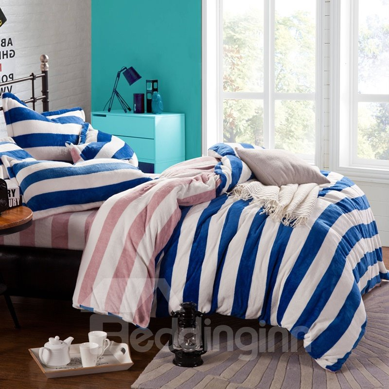 High Quality Blue Stripe Print Reversible 4-Piece Coral Fleece Duvet Cover Sets