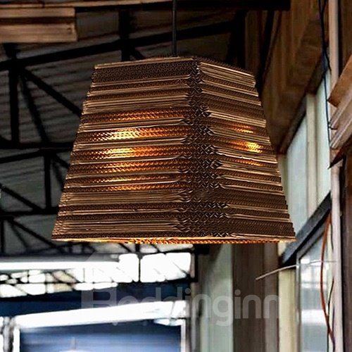Wonderful Alloy and Paper Trapezoid Shape Pendant Light