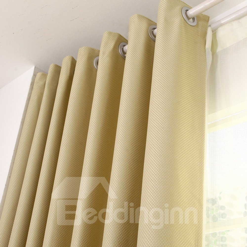 Modern Solid Beige Blackout Custom Grommet Top Curtain