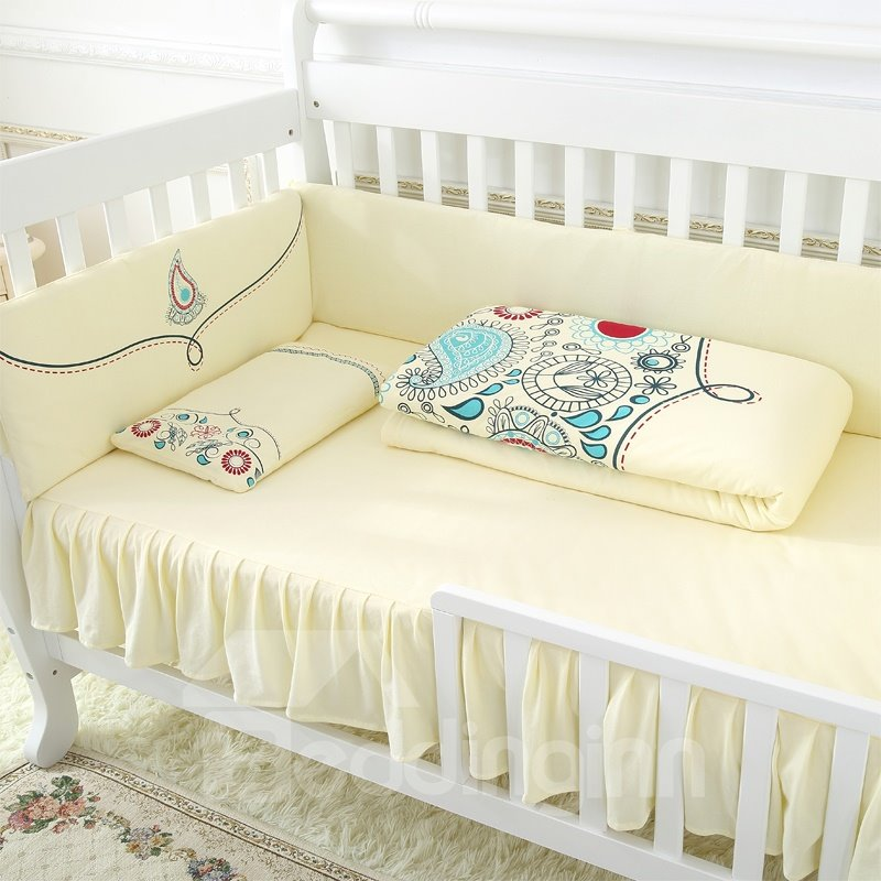 Warm and Comfortable Super Soft Elegant Yellow Crib Bedding Sets