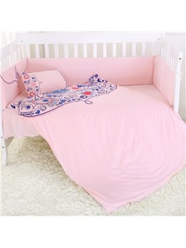 Romantic Dew Pattern Super Comfortable Solid Pink Crib Bedding Set