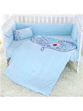 Fresh Dew Pattern Sky Blue Super Soft Crib Bedding Sets