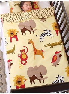Super Lovely Joyous Animals Printing Yellow Baby Sleeping Bag