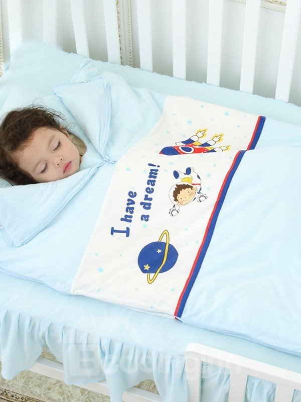 Promising I Have a Dream Scientist Pattern Sky Blue Baby Sleeping Bags