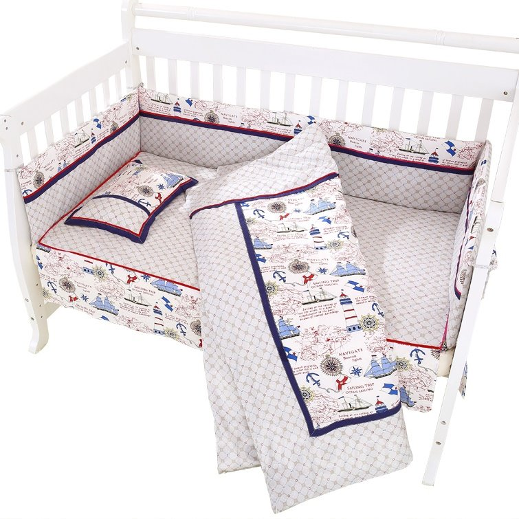 Brave Seafarer Travelling over the Sea Pattern Cotton Crib Bedding Set