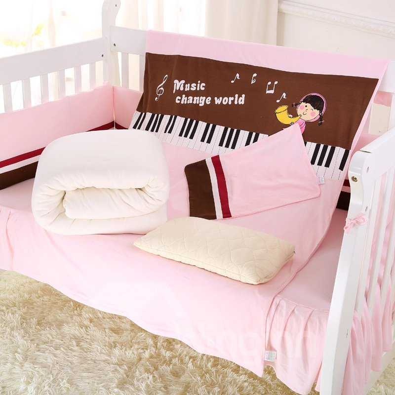 Music Lover Piano Painting Pink Crib Bedding Set