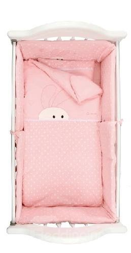Cozy Adorable Rabbit Printing Full Cotton Pink Baby Quilt