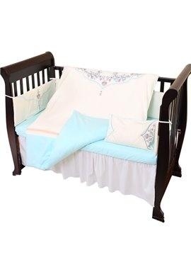 Delicacy Flower Embroidery Pattern Blue Crib Bedding Set