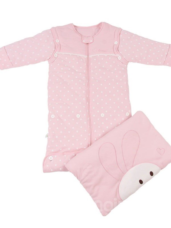Romantic Adorable Dots Rabbit Pink Baby Sleeping Bag