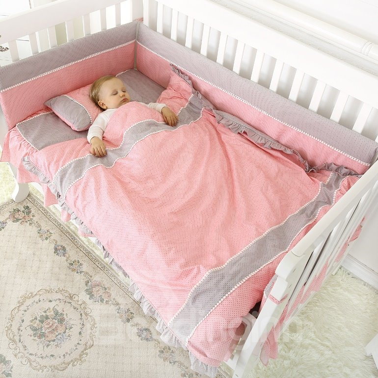 Romantic Pink and Gray Crib Bedding Set
