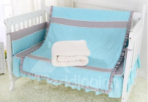 Super Soft Gray and Blue Crib Bedding Set