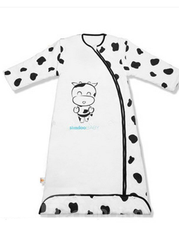Autumn and Winter Bamboo Fiber Lovely Cow Print Baby Sleeping Bags