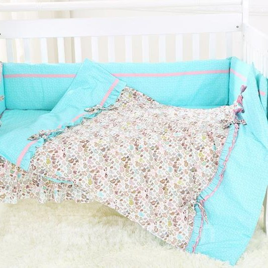 Colorful Petal Bow Knot Pattern Baby Quilt