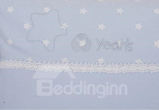 Sweet Little Stars Lace Blue Baby Pillow