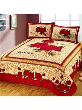 Amazing Beautiful Red Rose Flower Pattern Printed Sheet