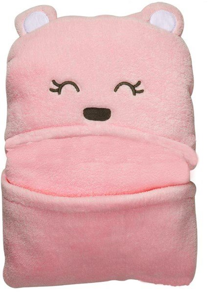 38.2*38.2in Stylish Hooded Swaddle Coral Velvet Baby Sleeping Bag