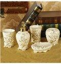 Romantic Rose European Style 5-piece Ceramic Bathroom Accessories