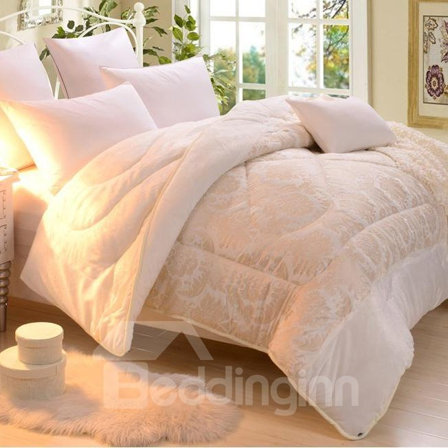 Super Warm and Comfortable Light Yellow Embroidery Quilt