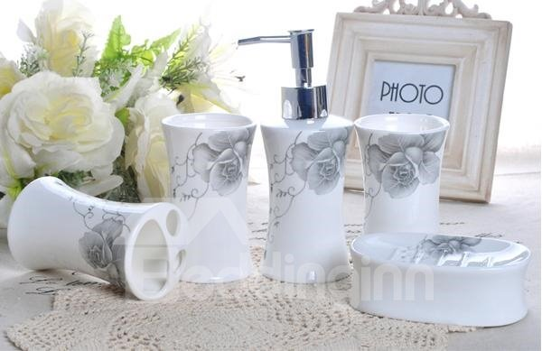 Wonderful Charming Rose Pattern Ceramic 5-piece Bathroom Accessories