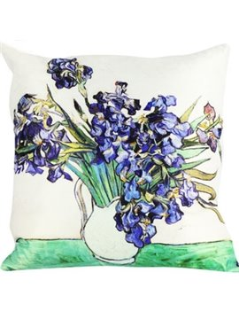 Popular Purple Flower-De-Luce Painting Throw Pillow