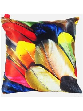 Creative Bright Colorful Feather Painting Throw Pillow