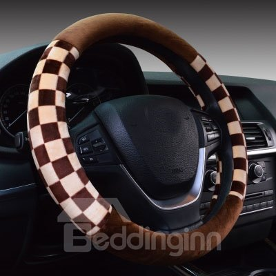 Classic Style Thick Two Colors Squares Short Plush Car Steering Wheel Cover
