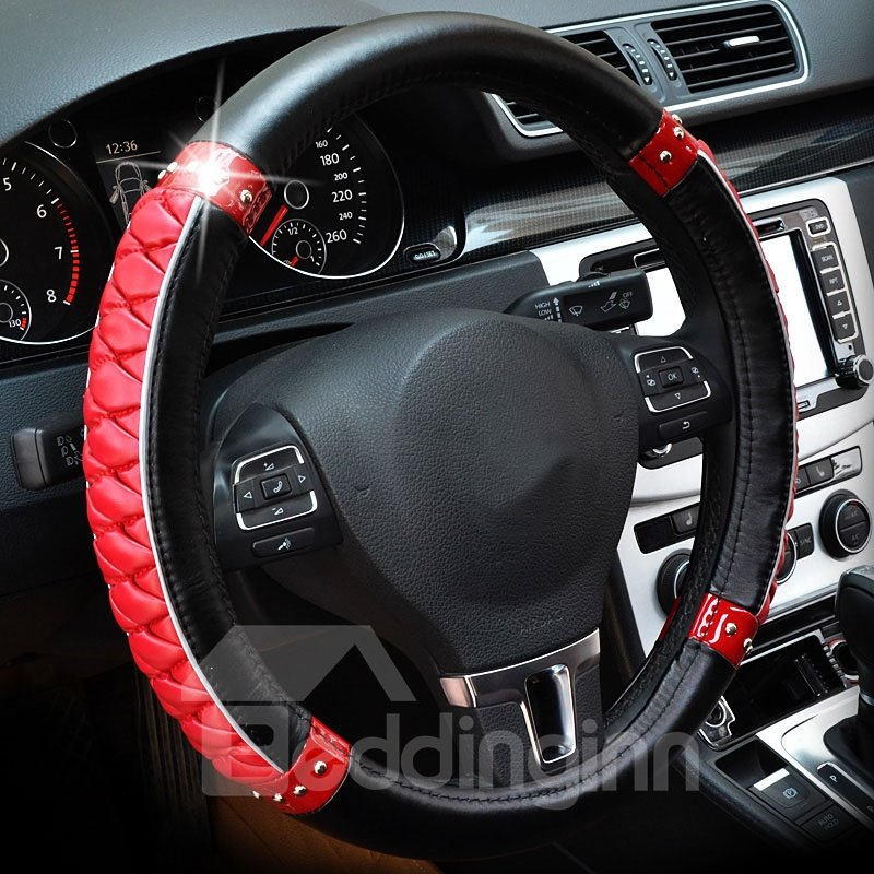 Thick Fashion Shining Tangerine Pattern Combination Of Black And Red Steering Wheel Cover