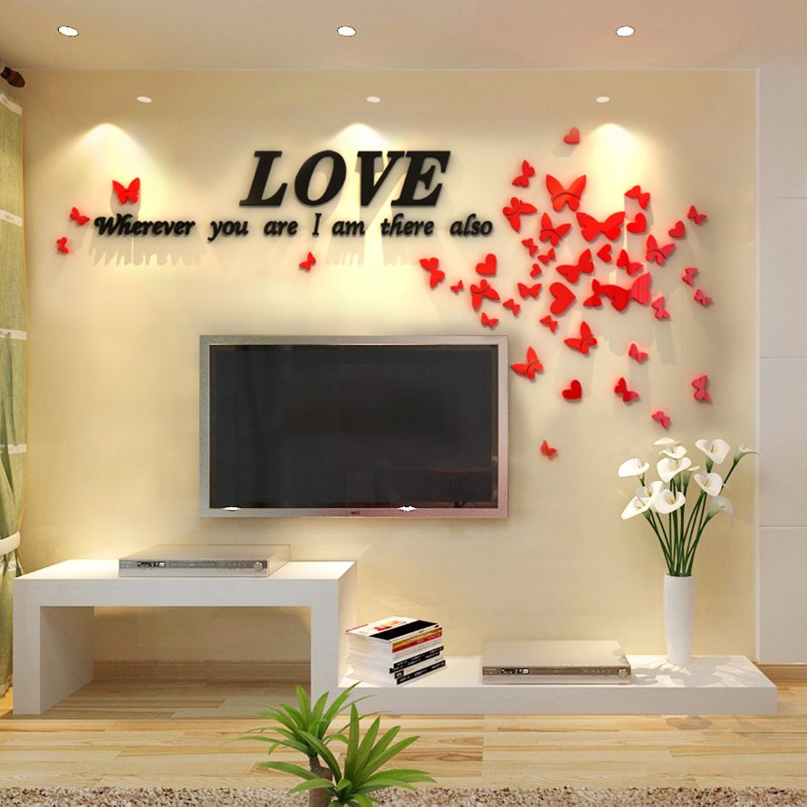 60 Love Letters and Butterflies Acrylic 3D TV/Sofa Background Waterproof Wall Stickers & Love Letters and Butterflies Acrylic 3D TV/Sofa Background ...