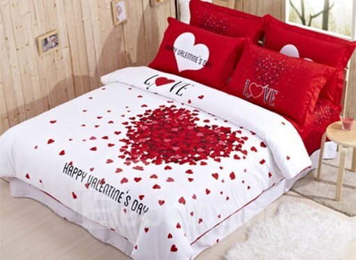 New Arrival Thousand Red Hearts Romantic 4-Piece Duvet Cover Sets